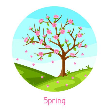 Spring landscape with tree and sakura flowers. Seasonal illustration