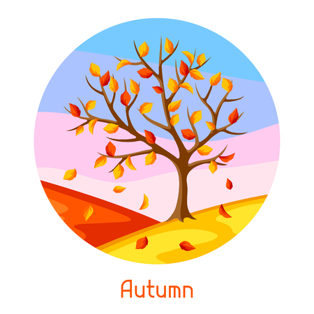 yellow landscape: Autumn landscape with tree and yellow leaves. Seasonal illustration