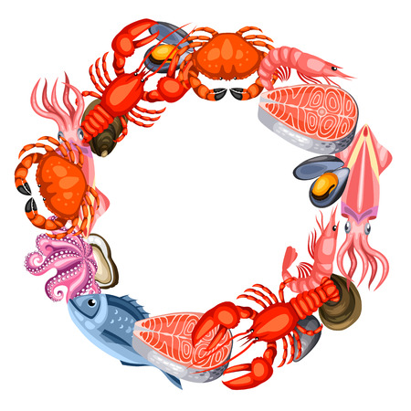 Frame with various seafood. Illustration of fish, shellfish and crustaceans