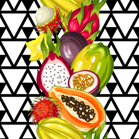 pattern: Seamless pattern with exotic tropical fruits. Illustration of asian plants
