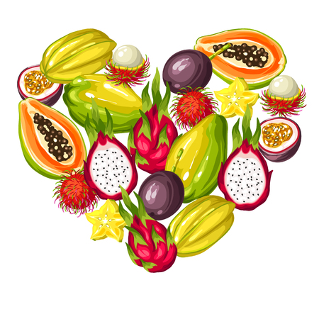 Heart shape with exotic tropical fruits. Illustration of asian plants
