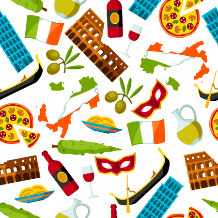 leaning tower of pisa: Italy seamless pattern. Italian symbols and objects Illustration