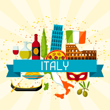 leaning tower of pisa: Italy background design. Italian symbols and objects