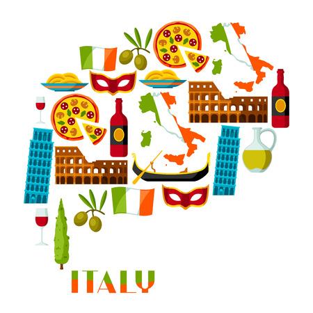 イタリアの背景デザイン。イタリアのシンボルとオブジェクト