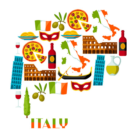 Italy background design. Italian symbols and objects