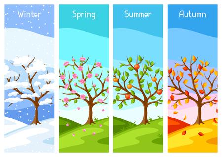 Quattro stagioni. Illustrazione dell'albero e del paesaggio in inverno, primavera, estate, autunno. Vettoriali