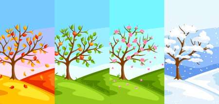 Four seasons. Illustration of tree and landscape in winter, spring, summer, autumn. Stock Vector - 75815431