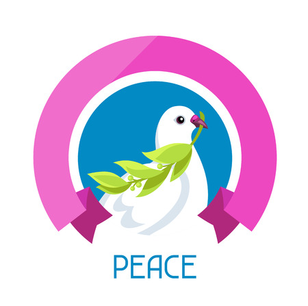 pure: White dove of peace bears olive branch. Illustration