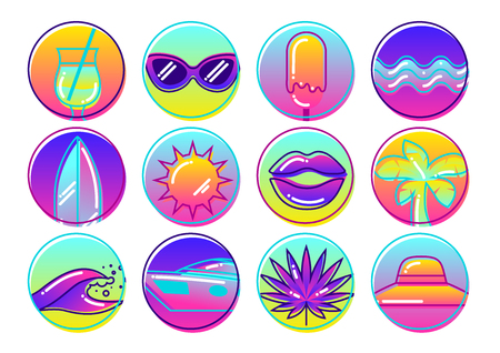 paradise beach: Set of stylized summer objects. Abstract illustration in vibrant color