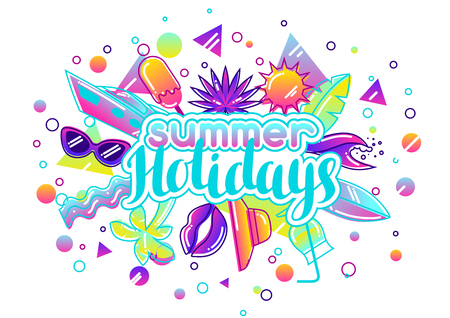 sun cream: Print with stylized summer objects. Abstract illustration in vibrant color Illustration