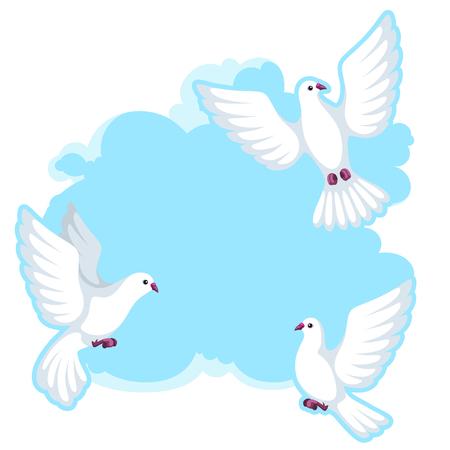 Pattern with white doves. Beautiful pigeons faith and love symbol