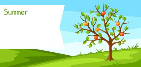 Summer landscape with green tree and apples. Seasonal illustration Ilustração Vetorial