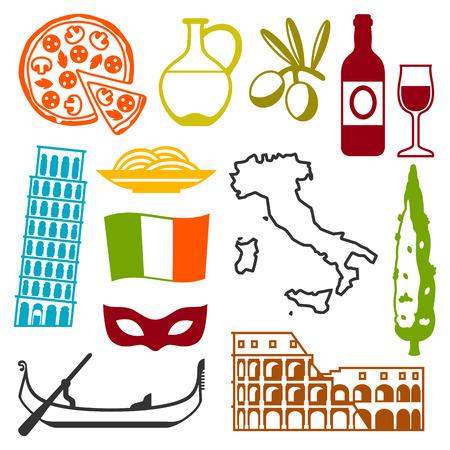 Italy icons set. Italian symbols and objects Illustration