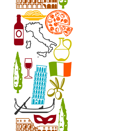 Italy seamless pattern. Italian symbols and objects