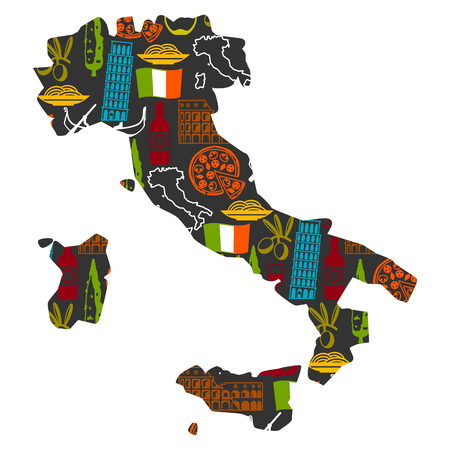 italy culture: Italy background design in shape of map. Italian symbols and objects
