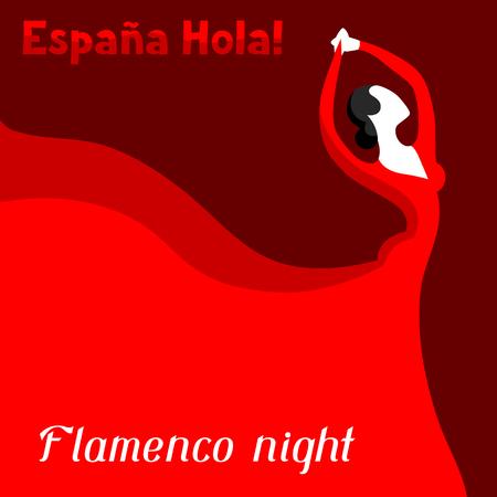 伝統的なスペインのフラメンコ。赤いドレスを着た女性が踊っています。