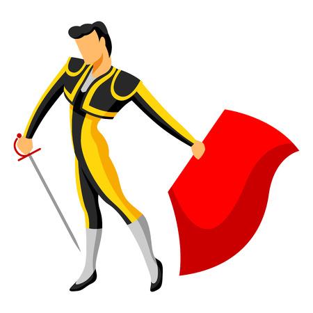 corrida de toros: Tradicional corrida española. Toreador con espada y capa roja Vectores