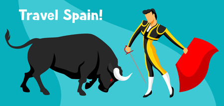 Traditional spanish corrida. Bull and toreador with sword and red cape