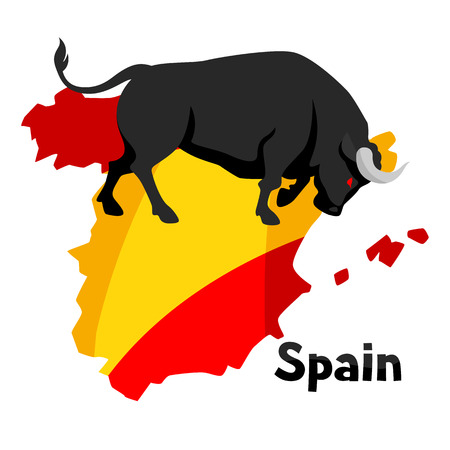 torero: Traditional spanish corrida. Bull on background flag and map of Spain