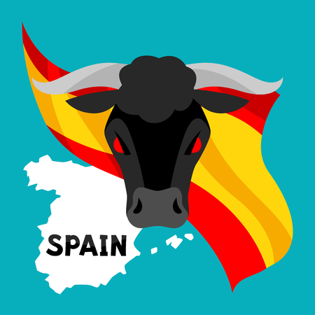 Traditional spanish corrida. Bull on background flag and map of Spain
