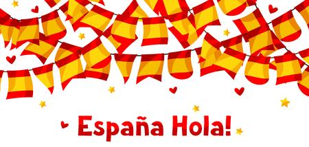 barcelona: Celebration background with garlands waving Spanish flags Illustration