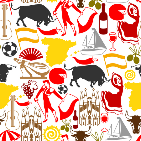 Spain seamless pattern. Spanish traditional symbols and objects