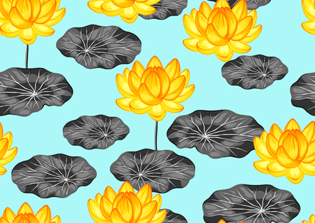 Natural seamless pattern with lotus flowers and leaves.