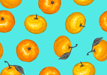 A Seamless pattern with mandarins. Tropical fruits and leaves