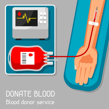 laboratory equipment: Donate blood donor service. Medical and healthcare concept Illustration