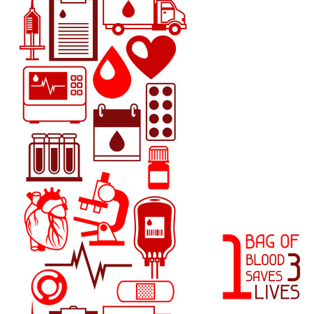1 bag of blood saves 3 lives. Seamless pattern with blood donation items. Medical and health care objects.