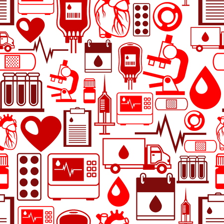 laboratory equipment: Seamless pattern with blood donation items. Medical and health care objects Illustration
