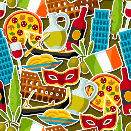leaning tower of pisa: Italy seamless pattern. Italian sticker symbols and objects Illustration