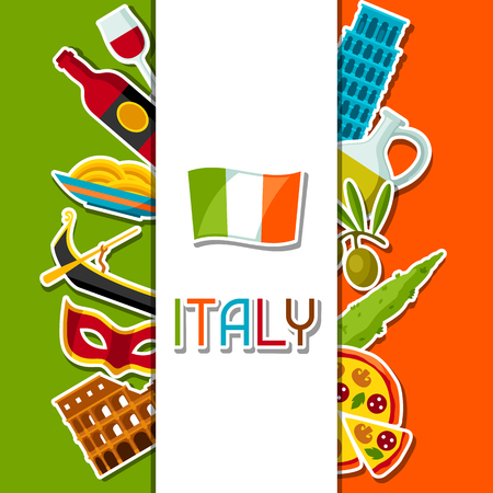leaning tower of pisa: Italy background design. Italian sticker symbols and objects