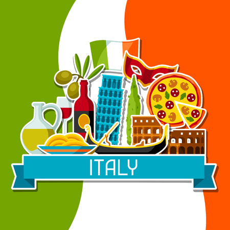 Italy background design. Italian sticker symbols and objects