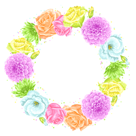 Decorative frame with delicate flowers. Object for decoration wedding invitations, romantic cards Illustration