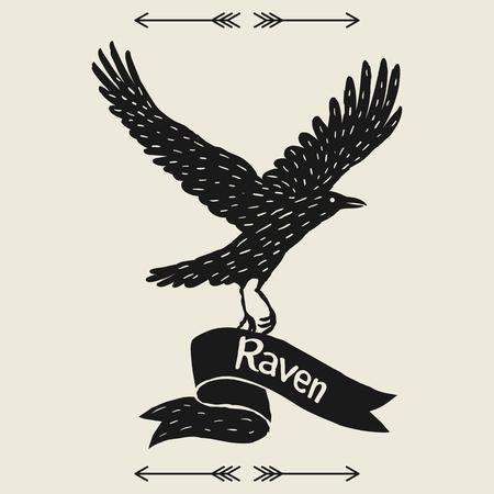 黒い飛行レイヴンとの背景。手描きの真っ黒な鳥とリボン  イラスト・ベクター素材