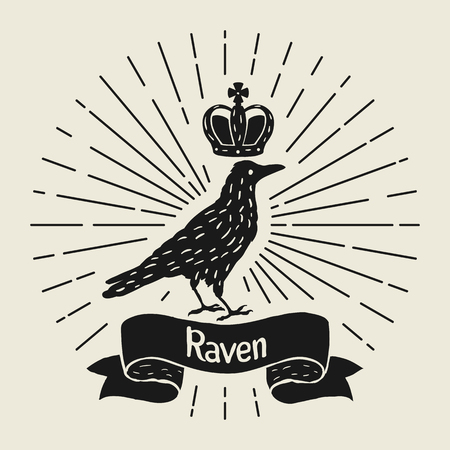 Background with black raven. Hand drawn inky bird and crown Illustration