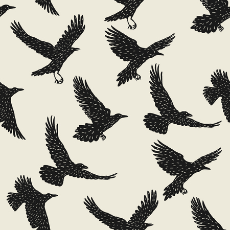 Seamless pattern with black flying ravens. Hand drawn inky birds Illustration
