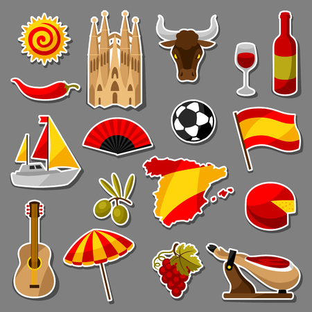 Spanje sticker iconen set. Spaanse traditionele symbolen en objecten