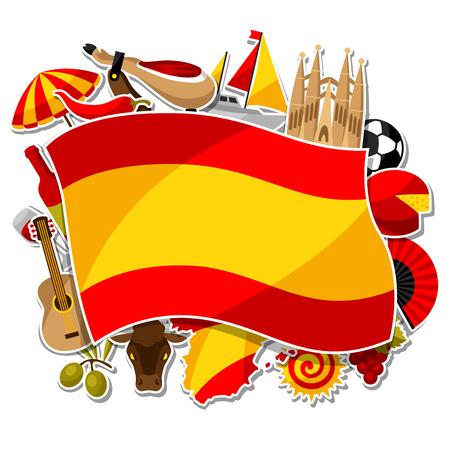 Diseño de fondo de España. Símbolos y objetos de la etiqueta tradicional española Vectores