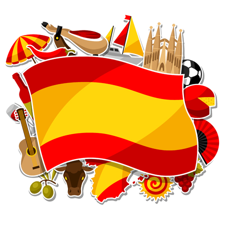 Spain background design. Spanish traditional sticker symbols and objects