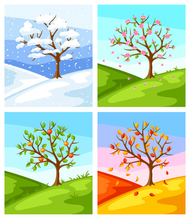 Four seasons. Illustration of tree and landscape in winter, spring, summer, autumn. Stock Illustratie