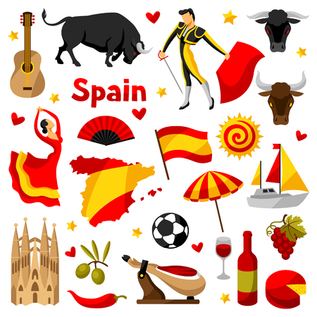Spanje pictogrammen set. Spaanse traditionele symbolen en objecten. Vector Illustratie