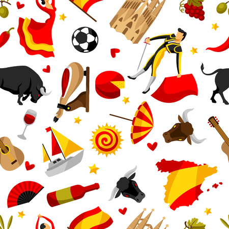 spanish food: Spain seamless pattern. Spanish traditional symbols and objects.