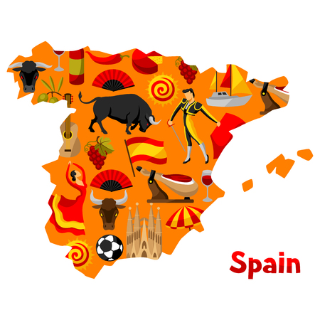 sport fan: Map of Spain background design. Spanish traditional symbols and objects.