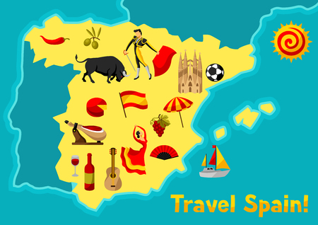 Map of Spain background design. Spanish traditional symbols and objects.