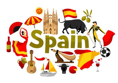 Spanien-Hintergrunddesign. Spanische traditionelle Symbole und Gegenstände.