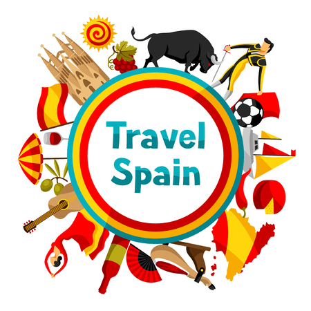 sport fan: Spain background design. Spanish traditional symbols and objects.