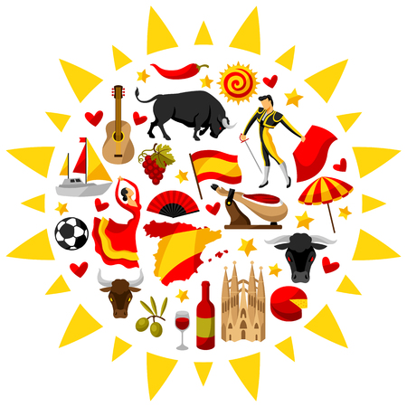 Spain background in shape of sun. Spanish traditional symbols and objects.