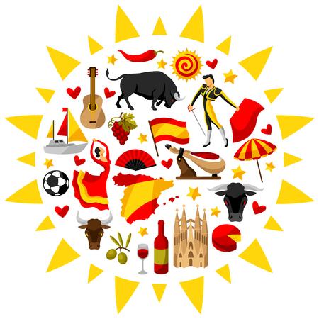 Spanje achtergrond in de vorm van de zon. Spaanse traditionele symbolen en objecten.